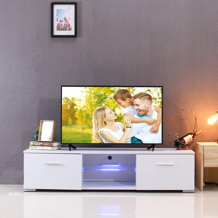 TV Stand Cabinet Glass Shelves & Drawers W/LED Light DIY Furniture for Living Room | Bedroom Glass Living Room Cabinet