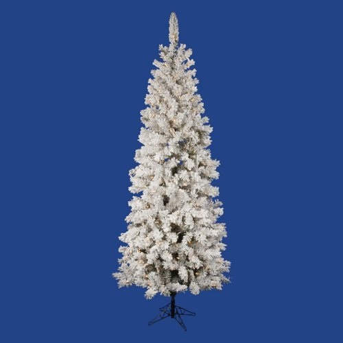 """Pre-Lit 7.5' x 36"""" Pacific Dura-Lit Artificial Christmas Tree, Flocked White on Green, Clear Lights"""