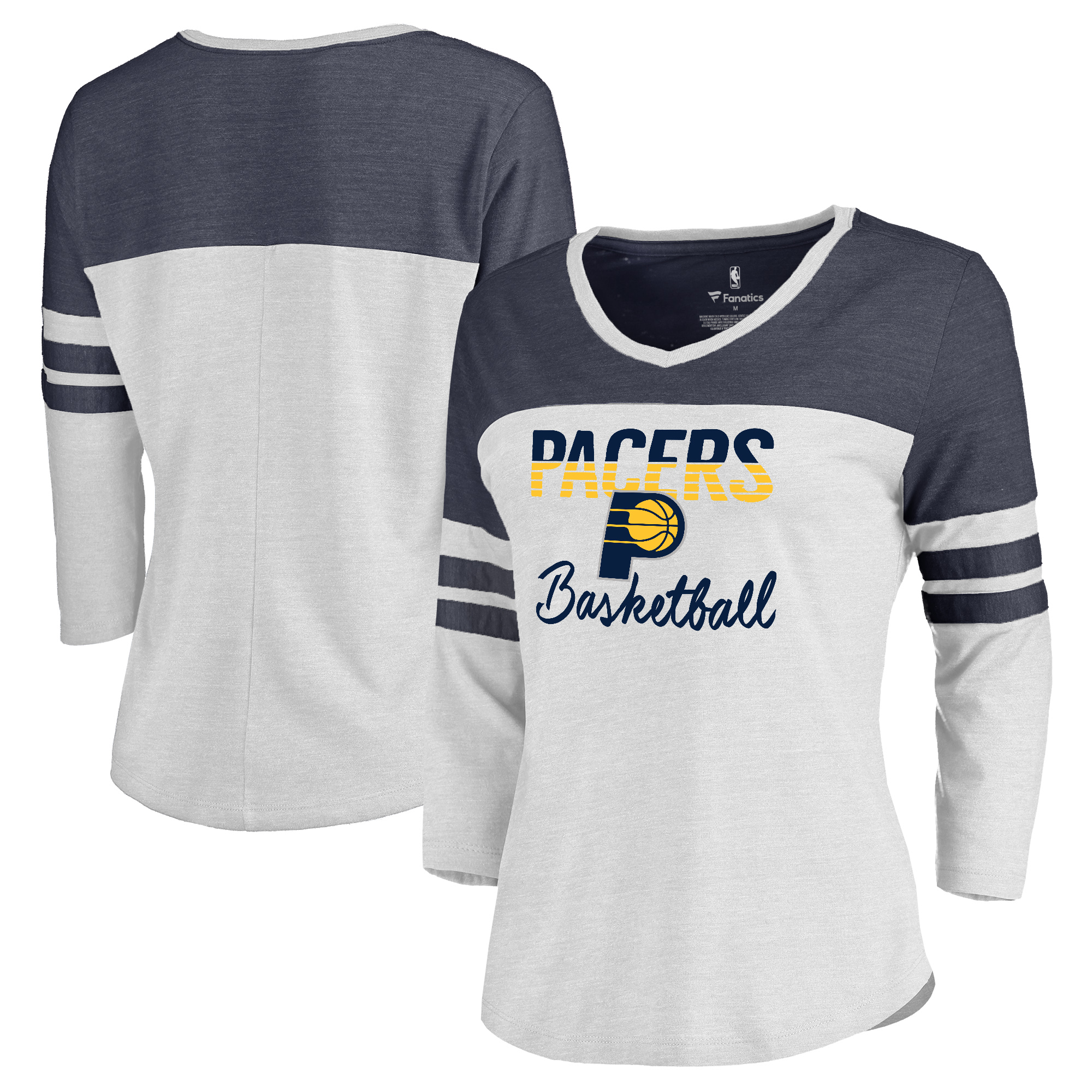 Indiana Pacers Fanatics Branded Women's Plus Size Free Line Color Block 3/4-Sleeve Tri-Blend T-Shirt - White/Navy