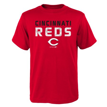 MLB Cincinnati REDS TEE Short Sleeve Boys Team Name and LOGO 100% Cotton Team Color 4-18