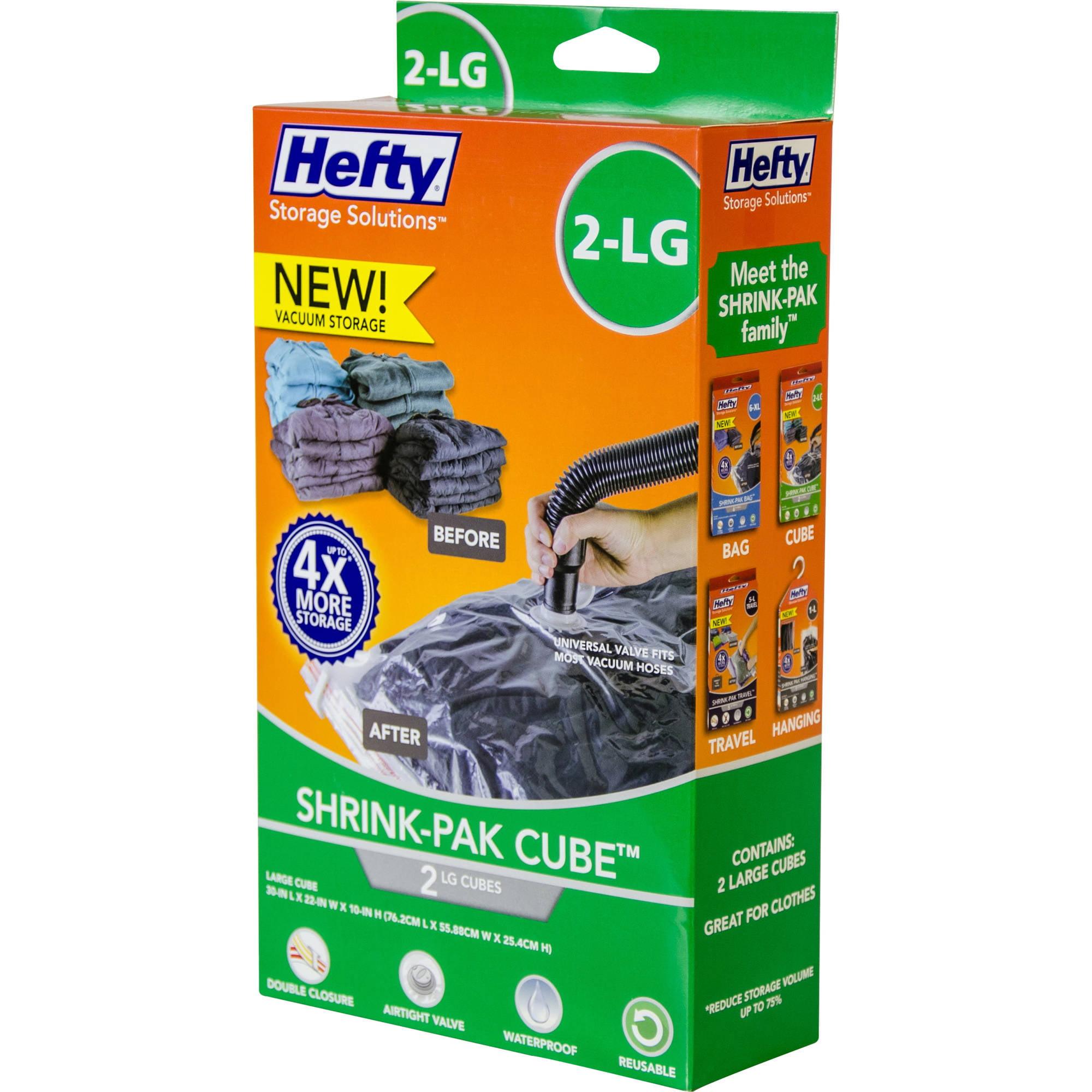 Hefty Shrink-Pak Vacuum Seal Bags, 2 Large Cubes