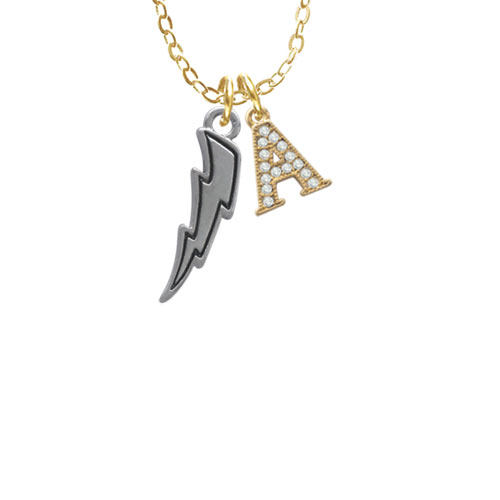 """Lightning Bolt - A - Gold Tone Crystal Initial Sophia Necklace, 18""""+1"""""""
