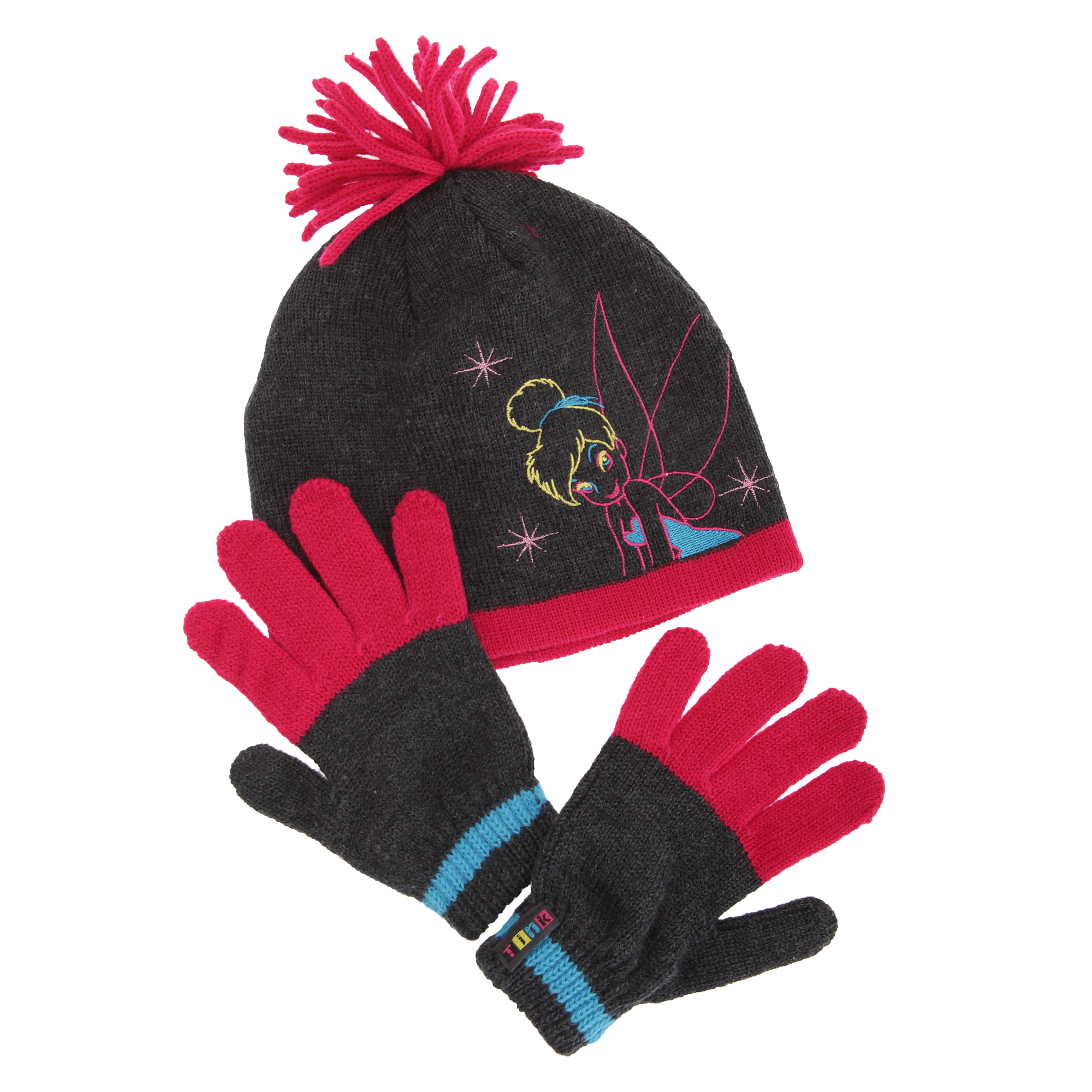 Boys Ages 4-12 Black and Red Disney Mickey Mouse Winter Hat and Glove Set