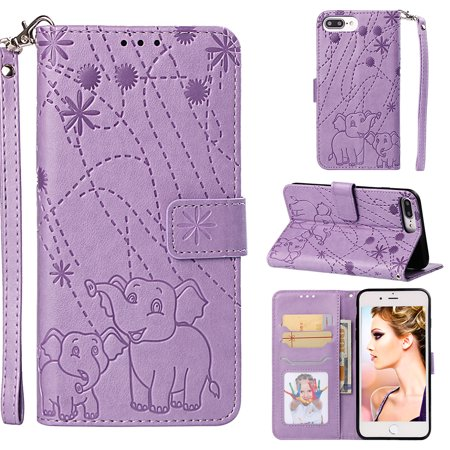 iPhone 6S Plus / 6 Plus Case Girls Women, Allytech Folio Flio Elephant Embossed Detachable Hand Wrist Cards Holder Cash Pouch Shockproof Wallet Case Cover for Apple iPhone 6 Plus / 6S Plus, Purple