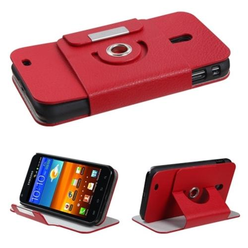 Insten Red Premium Rotatable MyJacket Wallet Case 427 For SAMSUNG Galaxy S II 4G