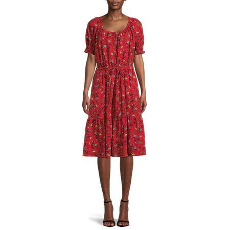 theGet Women's Puff Sleeve Tiered Midi Dress