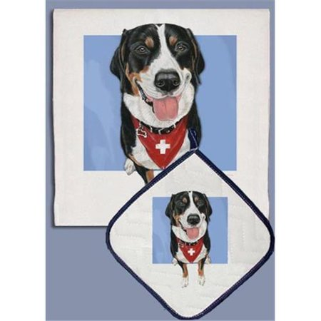 Pipsqueak Productions DP705 Greater Swiss Mountain Dog Dish Towel And Pot Holder Set