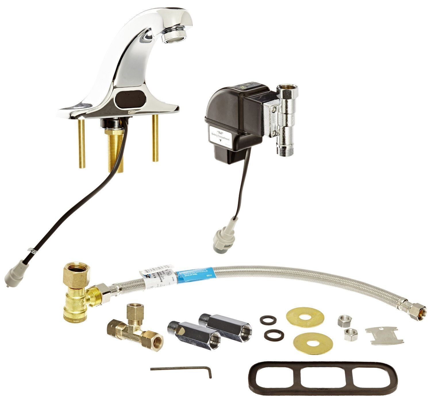 Zurn Aquasense Battery Powered Sensor Operated Bathroom Faucet With Mixing Tee, 4 In. Integral Trim Plate, Chrome, Lead Free