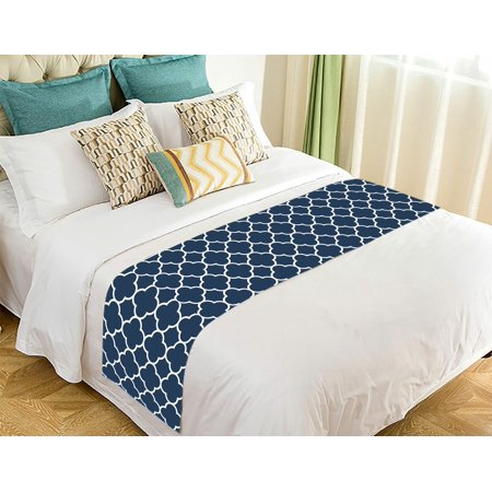 GCKG Classic Navy Blue Quatrefoil Bed Runner Bedding Scarf Size 20x95 inches