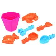 Sea Creatures Bucket Children's Kid's Toy Beach Sandbox Sand Playset w/ Bucket, Sand Molds, Hand Tools (Pink)