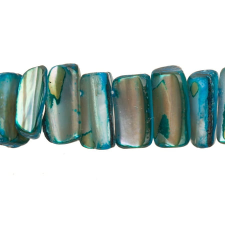 - Sapphire Blue Mother-Of-Pearl Long Base Triangular Rectangle Shell Beads Size:11x14mm