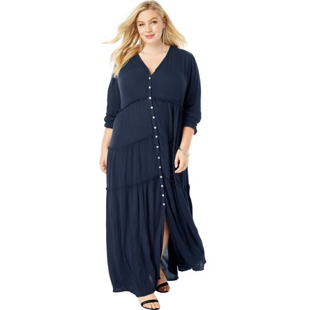 Roaman's Plus Size Tiered Crinkle Maxi Dress With Blouson Sleeves