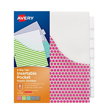 avery big tab insertable plastic dividers with pockets 8 for avery inserts for dividers 8 tab
