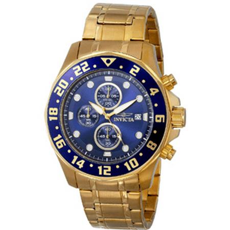 Men's Specialty Gold-Tone Steel Bracelet Case Flame-Fusion Crystal Quartz Blue Dial Watch 15942