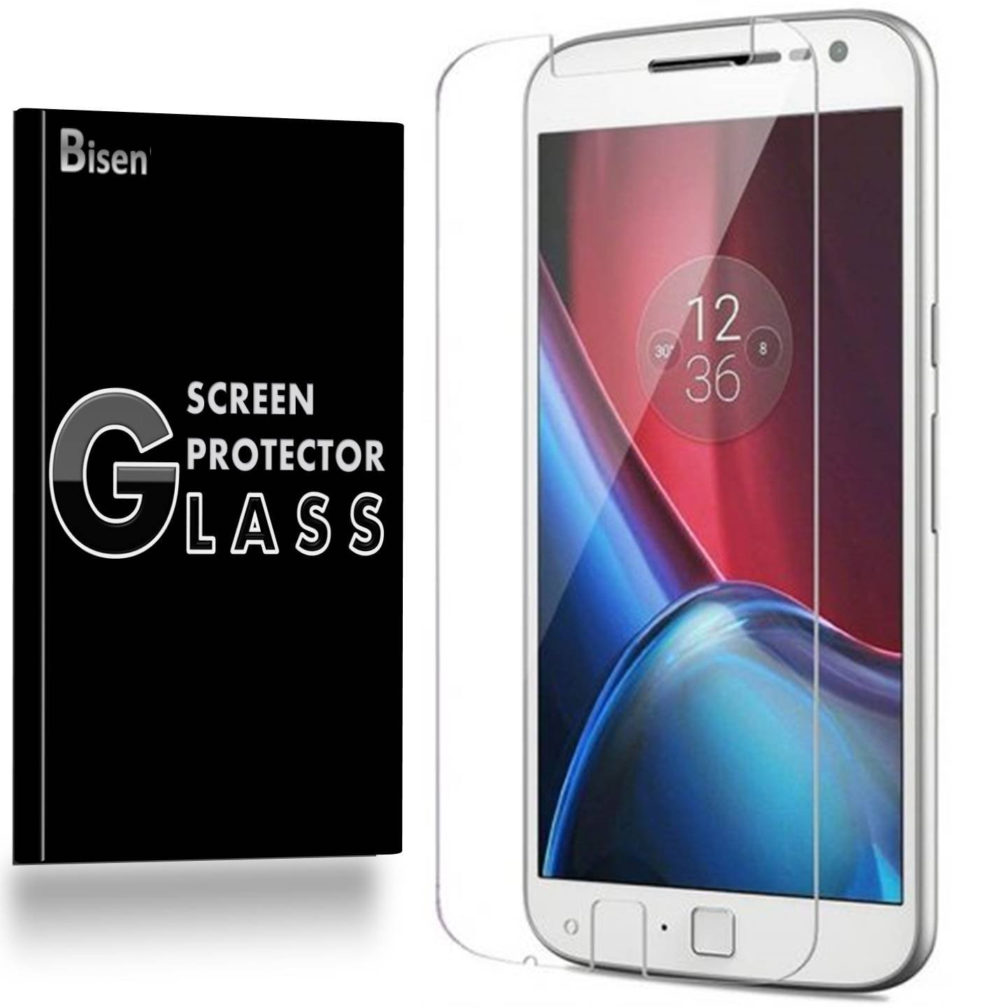 Motorola Moto Z Play Droid [3-Pack BISEN] 9H Tempered Glass Screen Protector, Anti-Scratch, Anti-Shock, Shatterproof, Bubble Free