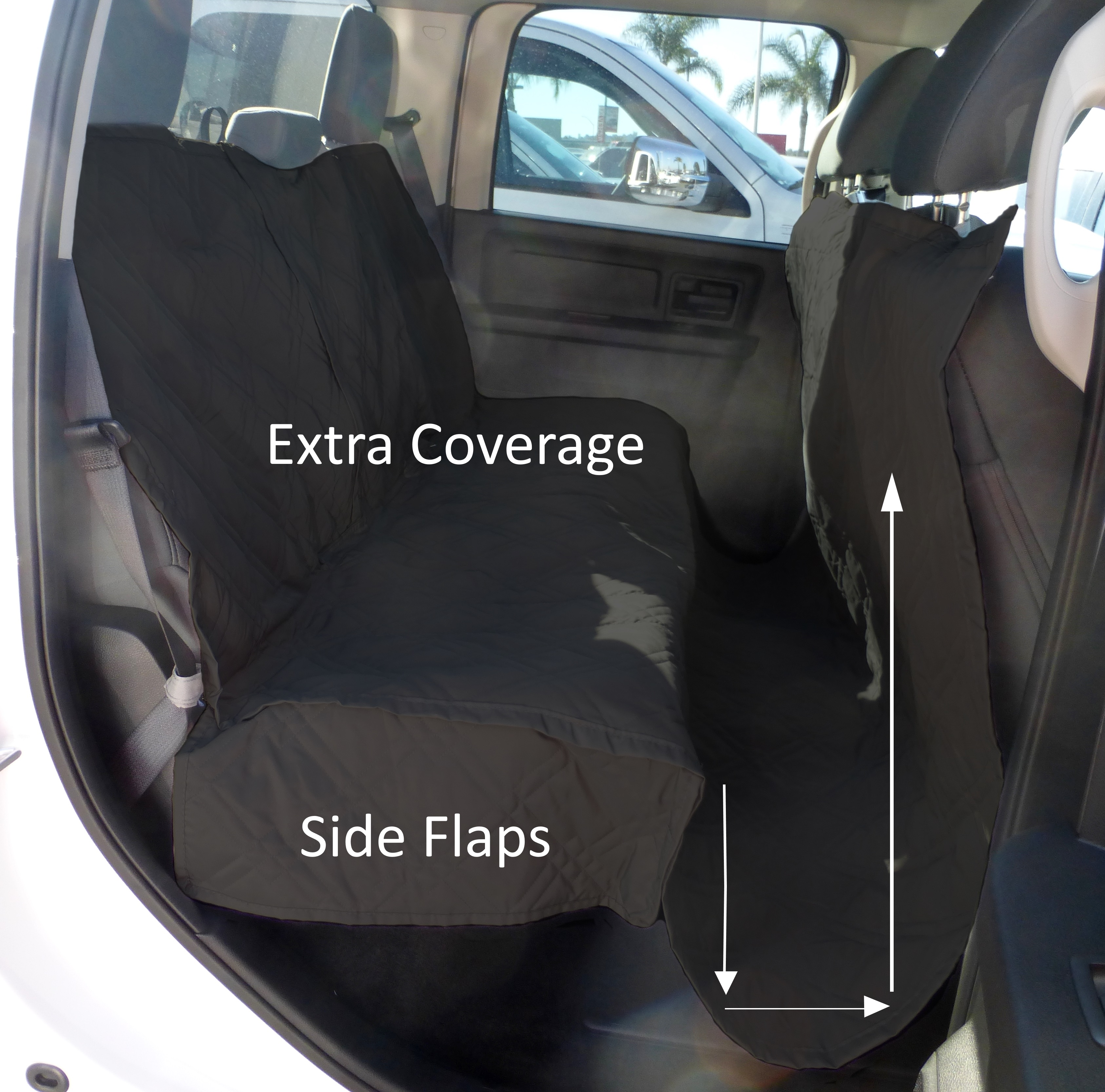 """Formosa Covers Deluxe Quilted and Padded Dog Pet Car Back Seat Cover with Comforting Fabric and Non-Slip Backing Best for Truck, SUV, Van- Travel With Your Pet Mess Free - EXTRA LARGE 62""""x94"""", BLACK"""