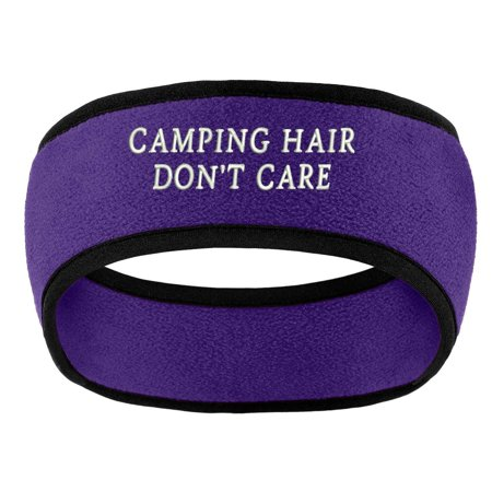 Trendy Apparel Shop Camping Hair Don't Care Embroidered Soft Sweat Head Band- PURPLE](Purple Head Band)