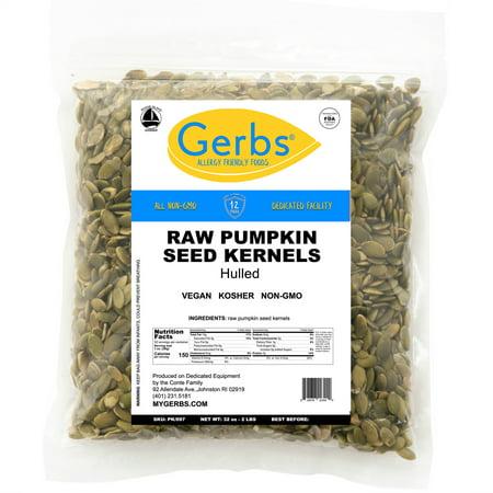 Raw Pumpkin Seed Kernels by Gerbs - 2 LBS - Top 14 Food Allergen Free & Non GMO - Vegan & Kosher - (Best Non Gmo Foods)