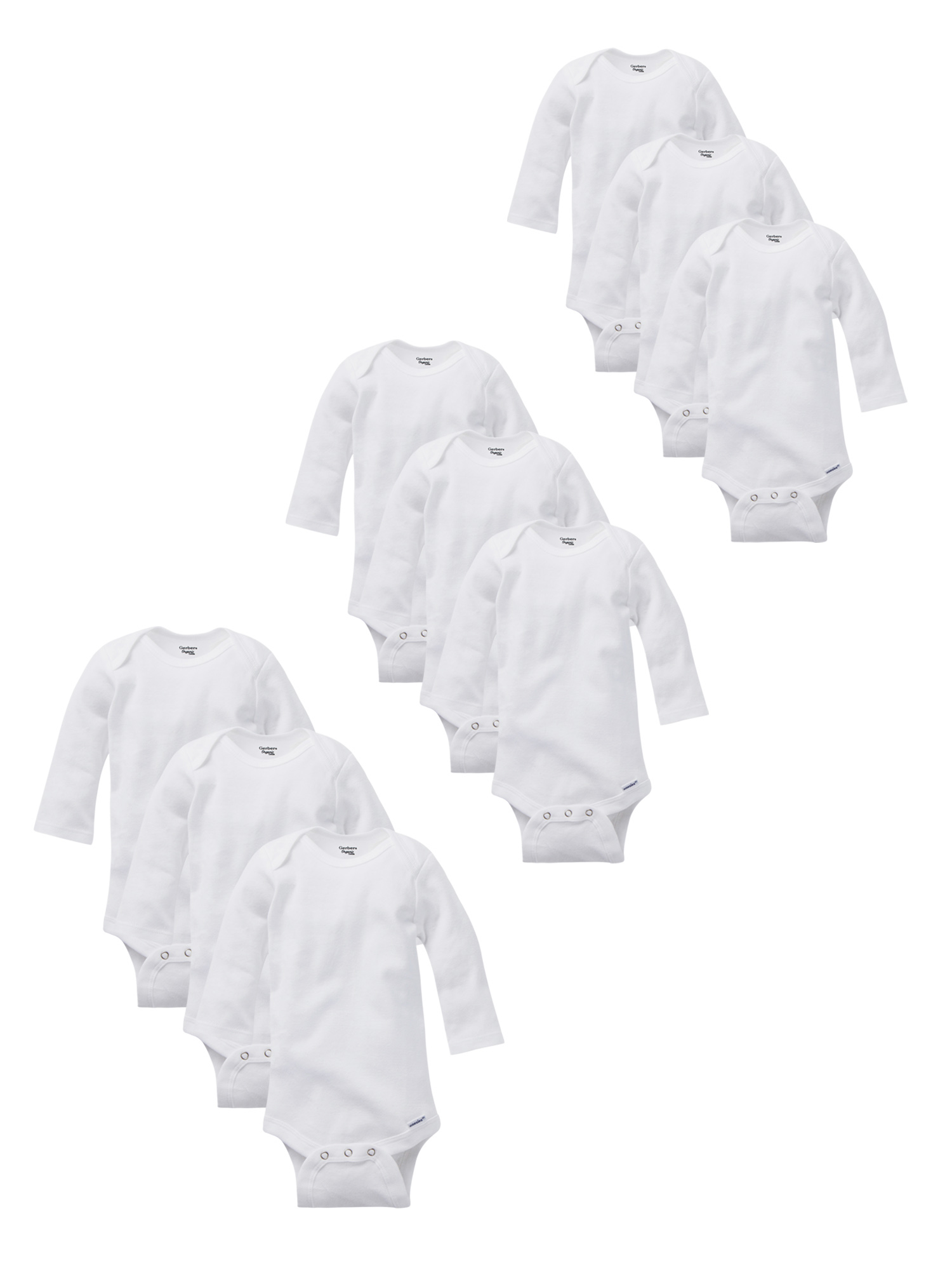 Organic Cotton Short Sleeve Onesies Grow-With-Me Bodysuits, 9-piece Set (Baby Boys or Baby Girls Unisex)