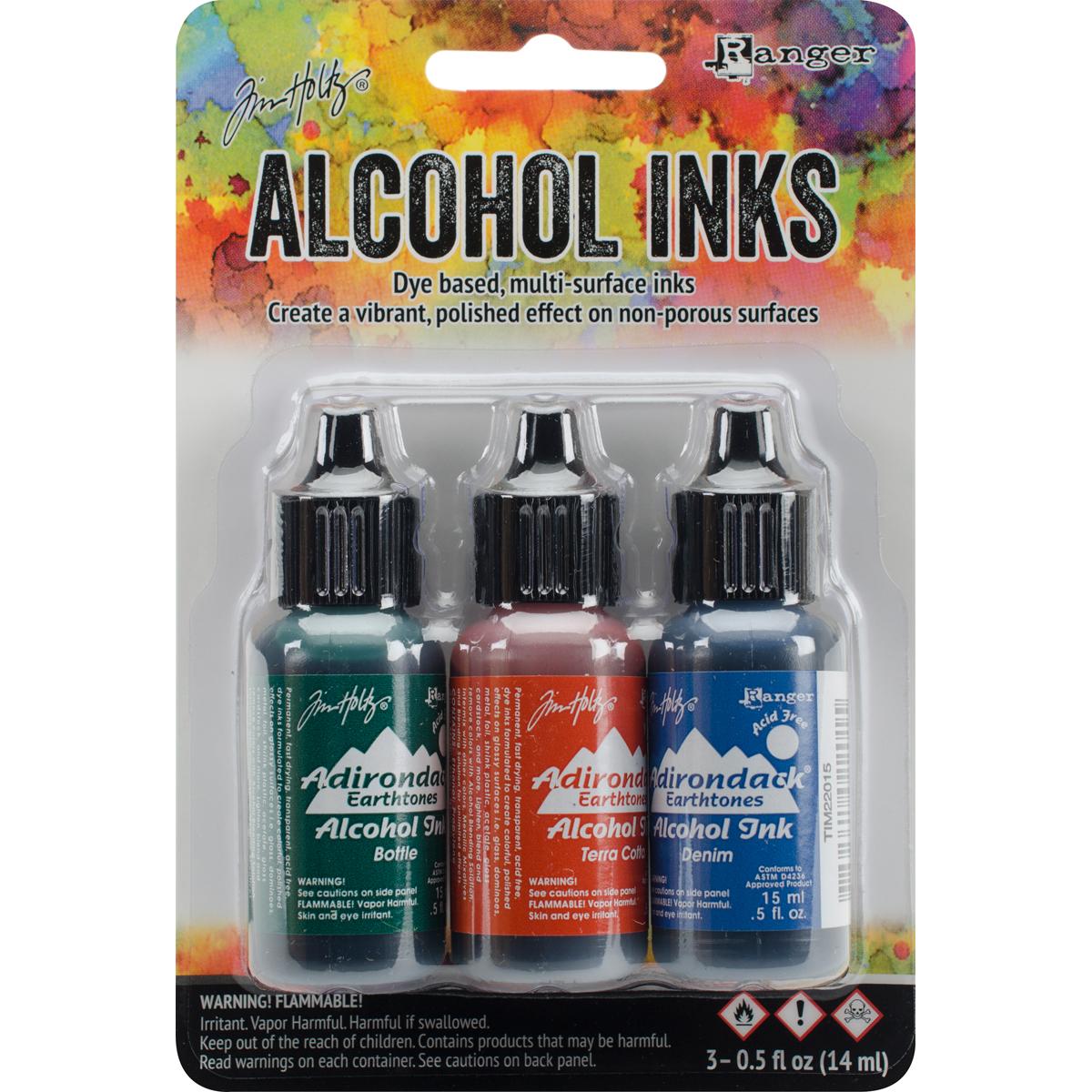 Tim Holtz Alcohol Ink .5oz 3/Pkg-Rustic Lodge-Bottle/Terra-Cotta/Denim