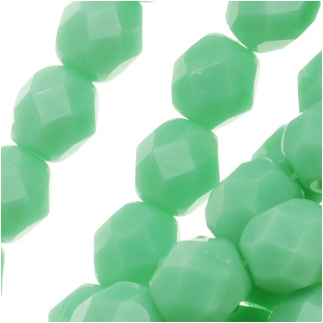 Czech Fire Polished Glass Beads 6mm Round Light Green Turquoise (25)
