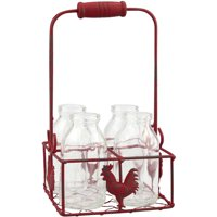 Small Milk Bottles in Metal Rooster Container with Wood Handle, 4 Bottles