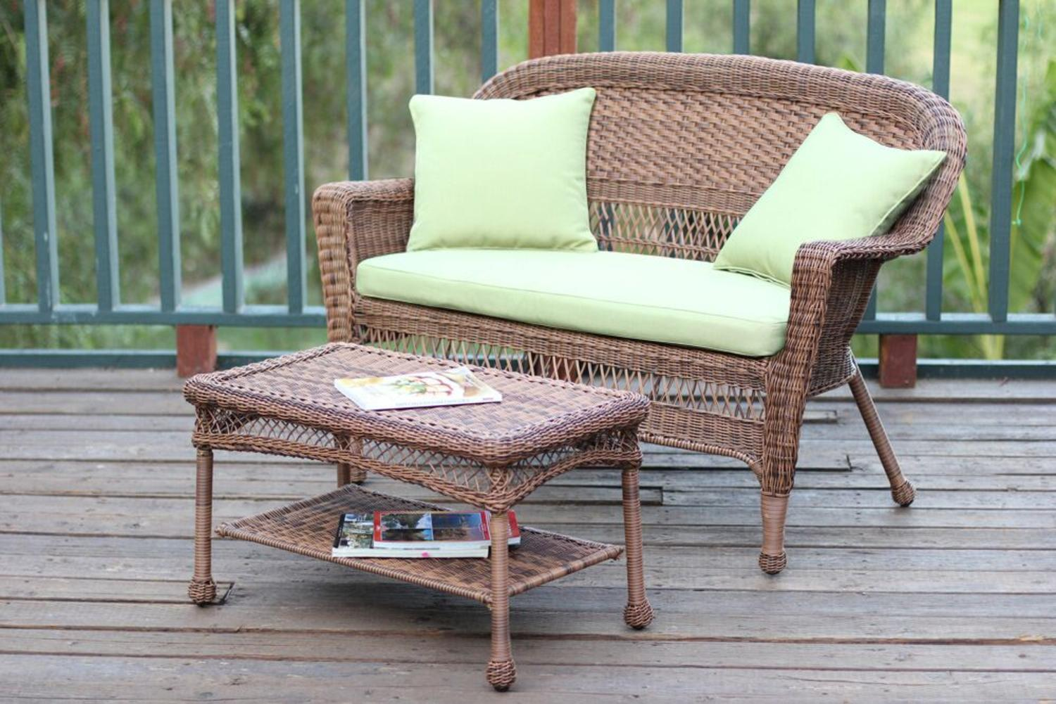 2-Piece Oswald Honey Resin Wicker Patio Loveseat & Coffee Table Set Green Cushion by CC Outdoor Living