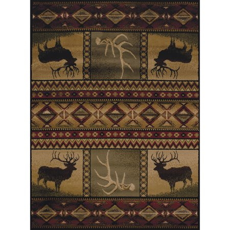 United Weavers Essence Bull Elk Lodge Multi Woven Polypropylene Area Rug