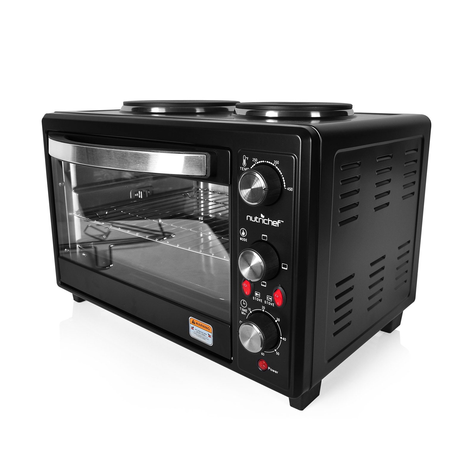 NutriChef Multifunction Kitchen Oven, Countertop Rotisserie Cooker with Dual Hot Plates
