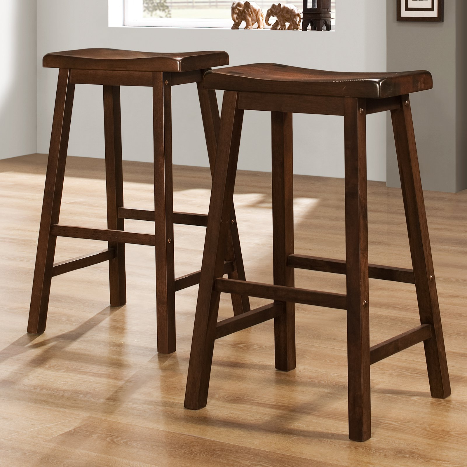 "Ashby Bar Stools 29"", Set of 2, Walnut"