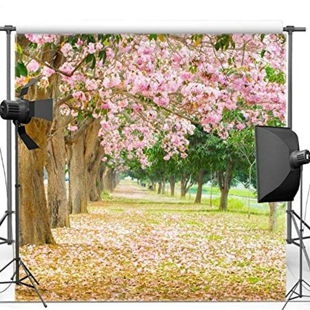 GreenDecor Polyster 5x7ft Pink Flower Cherry Blossom Birch Pine Tree Scene backdrops wall party backgrounds
