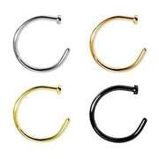 Nose Ring Hoop 4 Pack 18G 20G IP Surgical Steel Stud Silver Black Gold Rose Gold