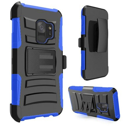 Samsung Galaxy S9 Case, by Insten Dual Layer [Shock Absorbing] Hybrid Stand Rubberized Hard Plastic/Soft Silicone Case Cover Holster For Samsung Galaxy S9, Black - image 1 of 2