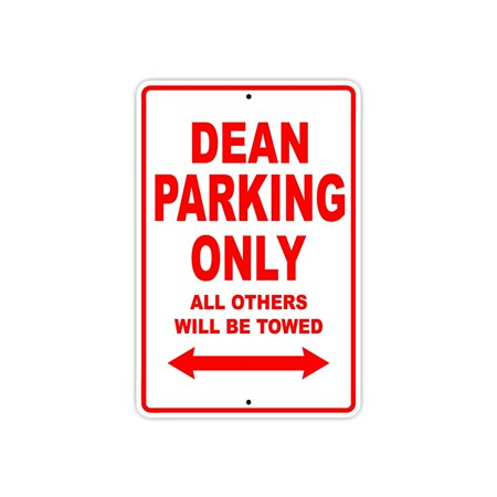 Dean Metal (Dean Parking Only Gift Decor Novelty Garage Metal Aluminum 8