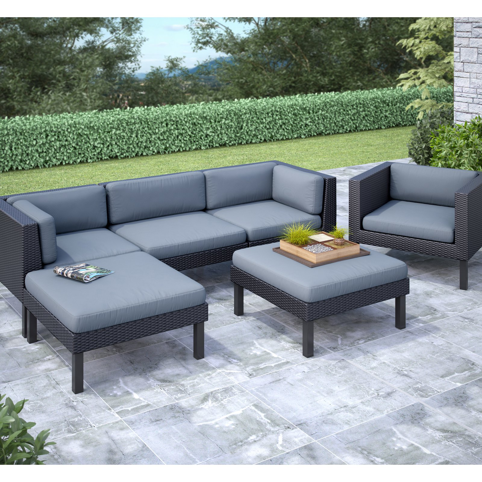 CorLiving Oakland 6pc Sofa with Chaise Lounge and Chair Patio Set, Dove Grey Cushions