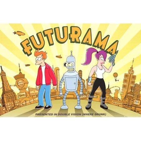 Buyartforless Futurama Trio Double Vision 36x24 TV Art Print Poster Cartoon Animation (Futurama Poster)
