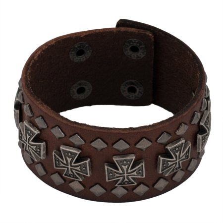 Maltese Cross Studs Brown Leather Cuff Bracelet