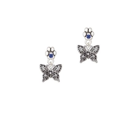 Small Butterfly Earrings - Small Antiqued Crystal Butterfly - Blue Crystal Paw Earrings