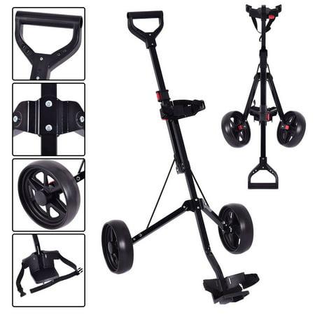 Goplus Folding 2 Wheel Push Pull Golf Club Cart Trolley Swivel Steel Lightweight Kids