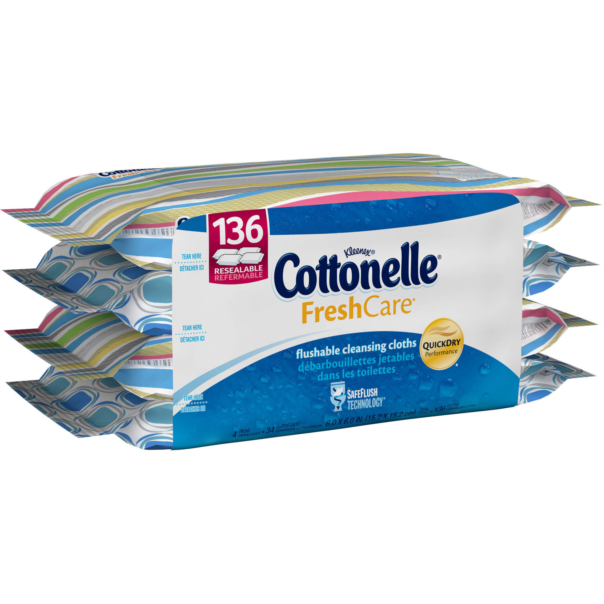 Cottonelle FreshCare Flushable Cleansing Cloths, 34 sheets, (Pack of 4)