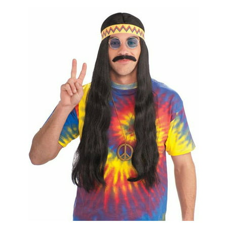 Unisex Hippy Black Wig with Detachable Headband for Adults - Gru With Wig