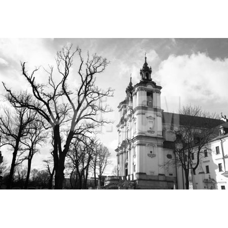 Church of St.Stanislaus Bishop in Krakow, Poland. (Black and White Photography) Print Wall Art By De Visu (White And Bishop)