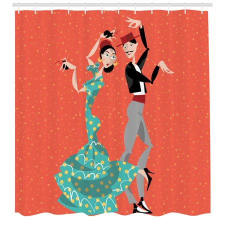 Historical Couple (Spanish Shower Curtain, Ethnic Flamenco Dancers Couple Performing in Historical Folk Dress Latino Tradition, Fabric Bathroom Set with Hooks, 69W X 70L Inches, Multicolor, by)