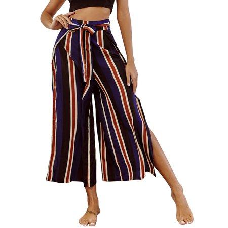 Women Elegant Wide Leg Pants Stripe Printed High Waisted Bandage Patchwork Split Casual Trousers.