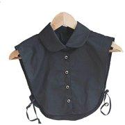 Magik Choker Necklace Unisex Women Peter Pan Detachable Lapel Shirt Fake False Collar (Round Collar-Black)