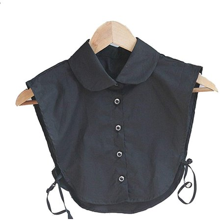 Magik Choker Necklace Unisex Women Peter Pan Detachable Lapel Shirt Fake False Collar (Round Collar-Black)