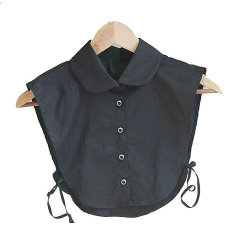 - Magik Choker Necklace Unisex Women Peter Pan Detachable Lapel Shirt Fake False Collar (Round Collar-Black)