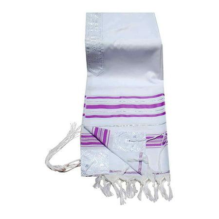 "Talitnia Acrylic Tallit (Imitation Wool) Prayer Shawl Light Purple (Lavender) Stripes in Size 24"" Long and 72"" Wide"