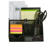 StorageAid OM213 Classic Black Office Supplies Desk Organizer Caddy, 6 Compartments, Drawer, Pen Holder, Memo Holder & File Holder