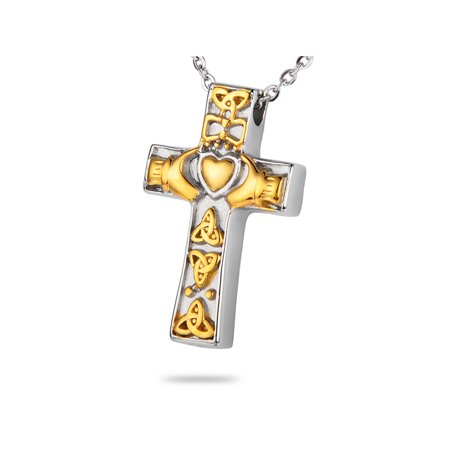 Gold Irish Claddagh Cross Cremation Jewelry Keepsake Memorial Urn (Claddagh Cross Necklace)
